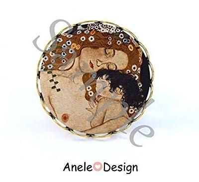 Bague Klimt amour marron noir mère et enfant tableau amour maternel art nouveau romantique