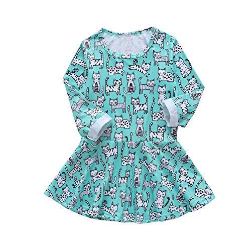 Yanhoo Kindermode Mädchen Prinzessin Kleid Langarm Floral Print Blusenshirt Tunikakleid Minikleid 1~5Jahre