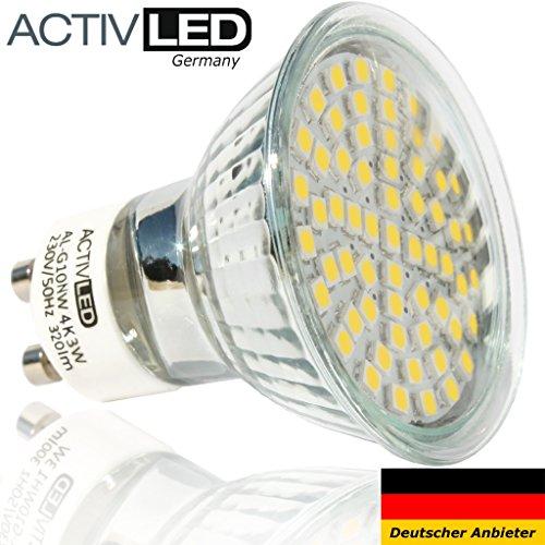 10x LED Spot SMD 2835 Leuchtmittel GU10 300lm - 320lm 230V Neutralweiß 4000K mit Schutzglas ersetzt 35 Watt Halogen AL-G10NW4K-10 -