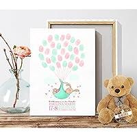 Geschenk zur Taufe und Geburt Babyhase Taufbaum für Fingerabdrücke Erinnerung Kinderzimmerdeko Leinwand oder Papier PERSONALISIERBAR