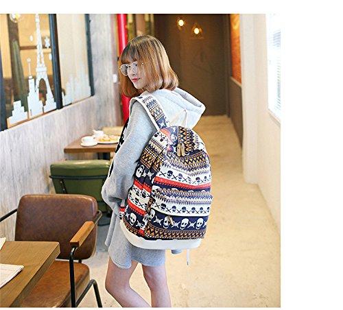 Eule Gedruckter Beiläufiger Segeltuch Rucksack Schultasche Laptop Tasche Rucksack für Jugendlich Junge Mädchen Skull