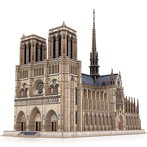 CubicFun 3D Puzzle France Architecture Model Building Kits with Internal Structure, Challenging Gothic Church Scale Model Gift for Adults, Notre Dame de Paris (Large size) 293 Pieces