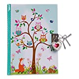 Lucy Locket Woodland Animals Secret Diary for Children (Lockable Diary With Padlock & Keys) Kids Diary with Owl and Fox Design