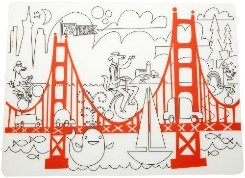 modern-twist 1.803 Silikon-Tischset / Platzset zum Ausmalen, Motiv Golden Gate