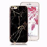 Cover Marmo per iPhone 6 Plus, iPhone 6S Plus Case, Ronger Custodia Gel TPU Silicone Marble Case Cover Ultra Sottile Flessibile con Modello di Pietra per Cover iPhone 6 Plus /iPhone 6S Plus, Oro Nero