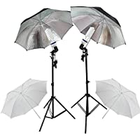 PMS Fotografia E27 Socket Umbrella Holder Luz continua Montaje Stands 2x 5500K fotografia Light Studio Kit