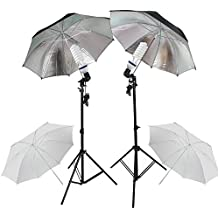 "PMS Fotografia E27 Socket Umbrella Holder Luz continua Montaje Stands 2x 5500K fotografia Light Studio Kit de soporte Paraguas 32 ""Blanco Negro Silver"