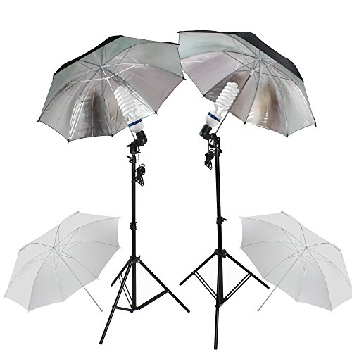 "PMS Fotografia E27 Socket Umbrella Holder Luz continua Montaje Stands 2x 5500K fotografia Light Studio Kit de soporte Paraguas 32 ""Blanco Negro Silver"