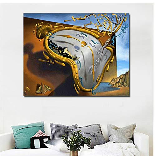 A&D Postmoderne Abstrakte Kunst Uhr Von Salvador Dali Leinwand Gedruckt Kunst Malerei Wandbilder Für Wohnzimmer Dekor-60x80 cm Kein Rahmen