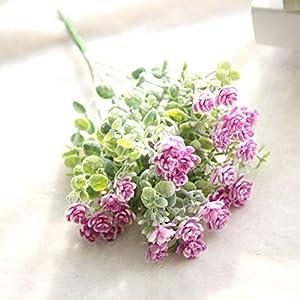 Liujiajiu Plantas Artificiales Flor Falsa Milan Camellia Floral Flor de la Boda Ramo de Flores de plástico para Costura…