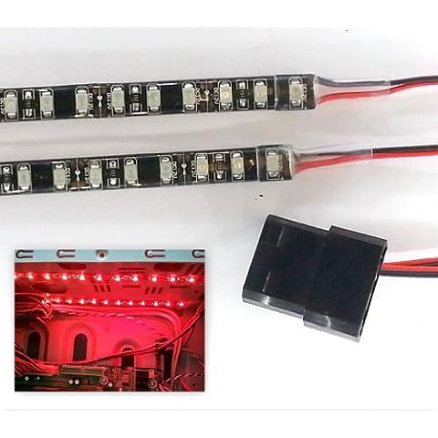Top LED AMZ-TopLED-DW-337 - Kit de luces LED para caja de PC (2 tiras adhesivas de 40 cm con 48 pilotos LED cada una, cables de 40 cm) rojo Bright Red 40cm