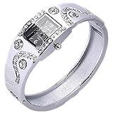 Gemini _ Mall Damen Strass Kristall Armband Armreif Armbanduhr Kleid Uhren, silber, Einheitsgröße