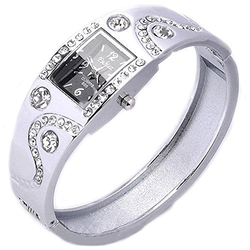 Gemini_mall Damen-Armbanduhr mit Strasssteinen, Armreif-Armbanduhr, Schmuckuhr, Kristall metall, silber, Einheitsgröße