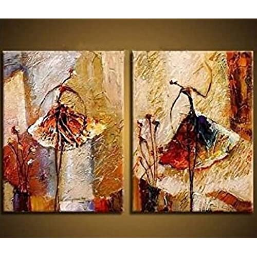 Wieco Art   Ballet Dancers 2 Piece Modern Decorative Artwork 100% Hand  Painted Contemporary Abstract Oil Paintings On Canvas Wall Art Ready To  Hang For Home ...