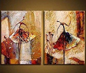 Wieco Art Ölgemälde auf Leinwand, 2 Balletttänzerinnen, Kunstwerk, Moderne Deko, 100% handbemalt, Zeitgenössische Kunst, abstraktes Wandbild, fertig zum Aufhängen (Abstrakte Kunst Rot)