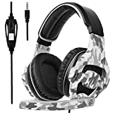 Sades SA810S Gaming Headset for PS4 Professional 3.5mm PC Game Bass Headphones Stereo Noise Isolation Over-ear Headset with Mic Microphone for PS4 Xbox one Laptop Computer and Smart Phone-Camouflage