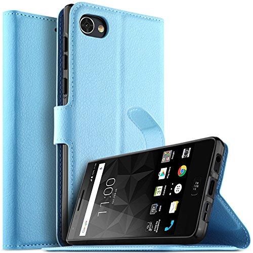 Preisvergleich Produktbild KuGi BlackBerry Motion Hülle Case,  BlackBerry Motion Wallet Case,  Brieftasche Case Hülle PU Kunstleder Flip Case mit Standfunktion Kartenfächer und Bargeld für BlackBerry Motion Smartphone.Blau