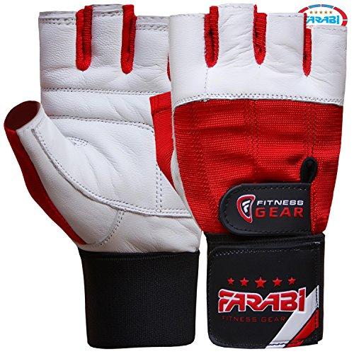 Farabi guanti per sollevamento pesi palestra supporto per il polso in pelle per allenamento fitness pair (l) (xl)
