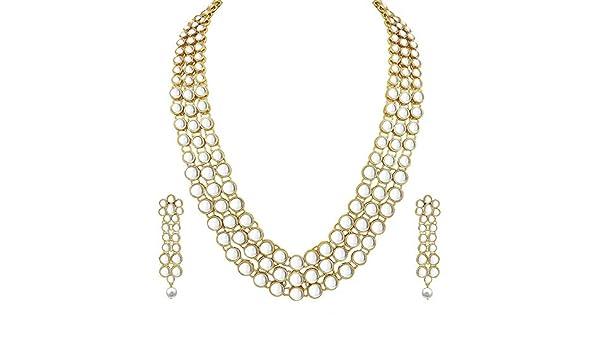 Aheli indische traditionelle Hochzeit Braut Halskette Ohrringe Mangtika Schmuck-Set in Faux Kundan Perlen
