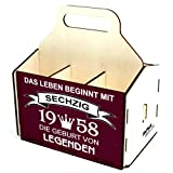 Bierträger aus Holz, Sixpack Bier, 6er Träger, Sechserträger, Biergeschenk, Geburtstag 60 Jahre, Geburtstagsgeschenk 60 Jahre, mit Gravur, mit Druck, aus Holz, 60. Geburtstag
