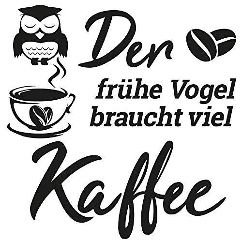 home- Wandtattoo Grafik mit Spruch - Der frühe Vogel braucht viel Kaffee, ideal für Küche, Esszimmer, Wohnzimmer