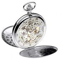 Jean Pierre Sterling Silver Double Hunter 17 Jewel Mechanical Pocket Watch