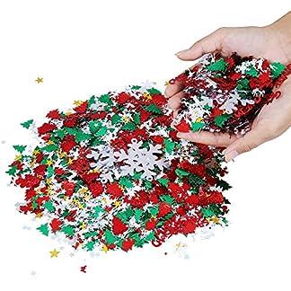 Confeti de Navidad, Confeti para Decoración de Navidad Copo de Nieve Santa Feliz Navidad Reno Mesa Confeti para Decoración Navideña 100g