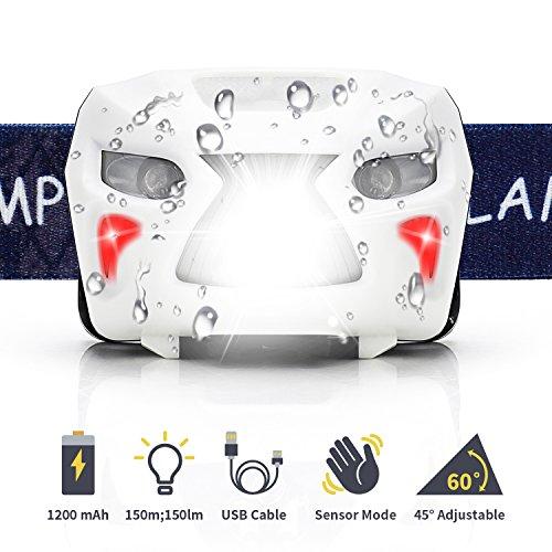 [Neueste]Fukkie LED Stirnlampe, Wiederaufladbare Kopflampe mit Gestensteuerung, 8 Lichtmodi, Verstellbares Band, 1200mAh und USB Kabel, Wasserdicht 150LM Ideal für Joggen, Radfahren, Wandern und mehr, Weiß