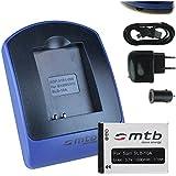 Baterìa + Cargador (USB/Coche/Corriente) para Samsung SLB-10A, JVC BN-VH105 / BenQ, Silvercrest...