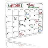 "YAZE MAGNET Magnetic Dry Erase Calendar Sheet for Fridge with Stain Resistant Technology, Strong Magnet, Monthly Whiteboard Organizer, Refrigerator White Board, 17"" L x 12"" W"