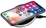 StilGut Wireless Charging Pad aus Aluminium und Kunstleder-Pad Silber/schwarz