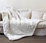 QXWL Hand-gewebte grobe Wolldecke Arm Stricken Decke Dicke Wolldecke Flauschige Decke Sofa Decke warme Schlafdecke Home Bett Lounge Dekoration (Color : Weiß, Größe : 100 * 150CM)