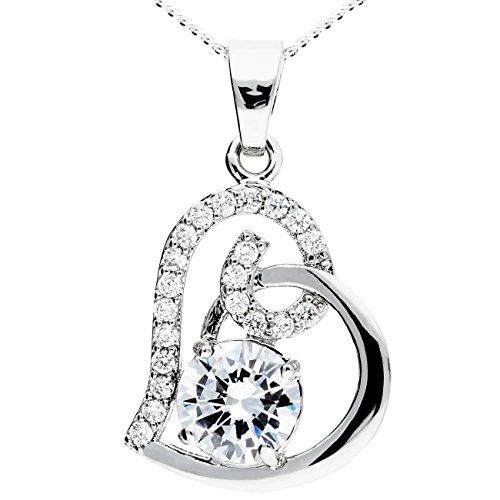 MYA art Premium Kette Halskette 925 Sterling Silber mit Herz Anhänger Zirkonia Swarovski Elements Ornament Weiß Herzen Damen Kinder Herzketten MYASIKET-21 -