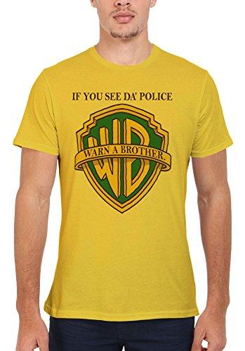 If you See da Police Warn a Brother Cool Funny Men Women Damen Herren Unisex Top T Shirt Licht Gelb