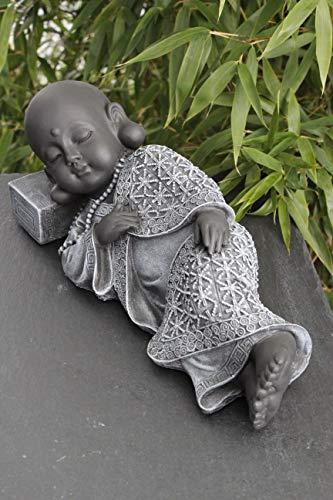 Buddha Figur liegend aus Stein – Schiefergrau - 3
