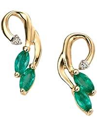 Elements - GE861G - Boucles d'oreille Femme - Or Jaune 375/1000 (9 Cts) 1.0 Gr - Emeraude/Diamant