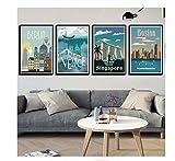 Nordic Vintage Travel Cities Poster New York Paesi Bassi Amsterdam Londra Paesaggio Arte Tela Pittura Immagini per pareti Decorazioni per la casa40x60 cmx4 Senza Cornice