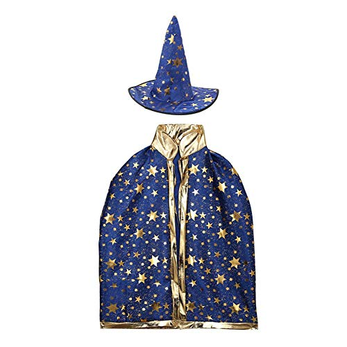 YouN Halloween Party Kostüm Kinder Set Star Print Robe Umhang Cape + Hut (blau)