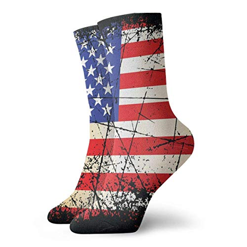 Jxrodekz Vintage Usa Flag Casual Novelty Long Sock Crew Athletic Tube High Strümpfe Sport