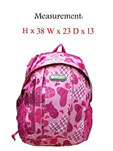 Backpack Print Rucksack Bag Girls Boys Hi-Tec Travel School Work College A4Bags (Hi-Tec 1395 Pink)