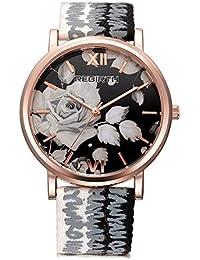 LANTA Home Moda para Mujer Relojes con Esfera Negra Flores y Mariposa Caja  de Oro Rosa con Lienzo Correa de… e578d56c931f