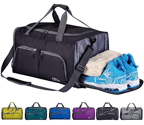 Cocomall, borsa per la palestra pieghevole, con scomparto per scarpe e tasca impermeabile, leggera, da viaggio, nero