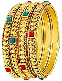 Asmitta Stylish Traditional Gold Plated Red & Green Kundan Bangle Set For Women