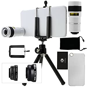 Kit obiettivi per fotocamera per iPhone 6 Plus / 6S Plus include Lente 8x per teleobiettivo / Obiettivo fisheye / Obiettivo 2 in 1 Macro e grandangolo / Mini cavalletto / Supporto universale / Custodia rigida per Apple iPhone 6 Plus / Borsa portacellulare in velluto / Panno per pulire in microfibra CamKix - Fantastici accessori per la fotocamera del tuo iPhone 6 Plus