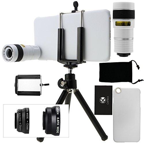 iPhone 6 Plus / 6S Plus Kamera-Objektiv-Set mit einem 8x Teleobjektiv / Fisheye Objektiv / 2 in 1 Makroobjektiv und Weitwinkel-Objektiv / Mini-Stativ / Universal-Halterung / Hard Case für Apple iPhone 6 Plus / 6S Plus / Samt Handytasche / CamKix Mikrofaser Reinigungstuch - Super Zubehör und Anbaugeräte für Ihre iPhone 6 Plus / 6S Plus Kamera