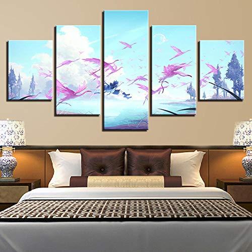 mer Wandkunst Malerei Druck 5 Stücke Kran Tier Baum Und Blauer Himmel Und Weiße Wolken Landschaft Leinwand Bild Modulare Poster Kein Rahmen 30 * 40 * 2 30 * 60 * 2 30 * 187Cm ()