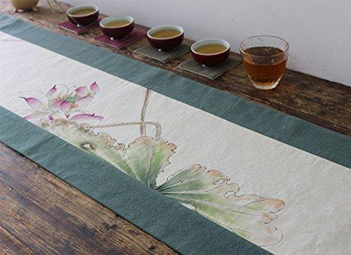 Preisvergleich Produktbild ZQG® Tischläufer Baumwolle und Leinen handgemalte Zen Tee Striped Home Textile Tischdecken Leinen Tischdecke green