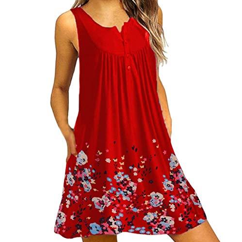 ode Sommerkleider Blumendruck Ärmellos Kleider mit Taschen A-Linie Strandkleid Knielang Casual Lose Tunika Kurzarm T-Shirt Kleid Plus Size(X1-Rot,EU-38/CN-M) ()