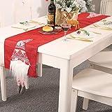 PERILA Tovaglie Natalizie di Babbo Natale Bandiere Tavoli da Pranzo di Natale Decorazioni per tappezzerie (70.9IN*13IN, Rosso)