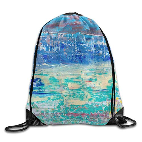 DHNKW Abstract Art Background Hand Painted Drawstring Bags Tour Backpack Sport Bag for Men & Women Blue Hand Painted Muslin